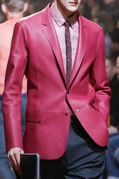 FALL Lanvin menswear...pink leather blazer