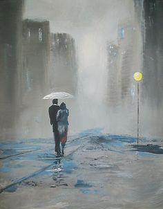 rain acrylic painting