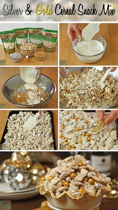 Party Food Idea – Silver and Gold Cereal Snack Mix