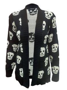 LOVE THIS Ladies 8 14 Long Skull Cross Cardigan Knitted Aztec Boyfriend Jumpers Head Tops | eBay