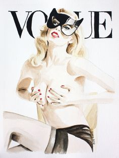Vogue Magazine Cover. Claudia Schiffer. Fashion Illustration. Art Print