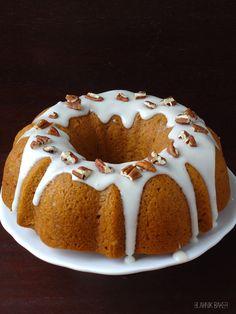 Pumpkin Bundt Cake with Bourbon Cream Cheese Frosting