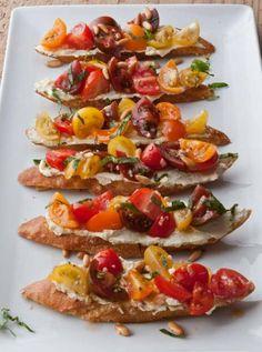 Tomato Crostini with Whipped Feta Recipe By Ina Garten