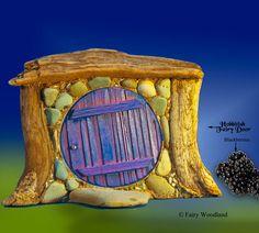 Hobbitish Fairy Door - i like the wood trim filled in with stones around the door  ********************************************  Fairywoodland - #fairy #garden #gardens #miniature #miniatures #fairies #whimsical #whimsy #door #hobbit - tå√