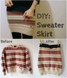 craft, idea, fashion, diy sewing projects clothes, diy sweaters, sweaters diy, sweater skirt, diy shorts and skirts, falda