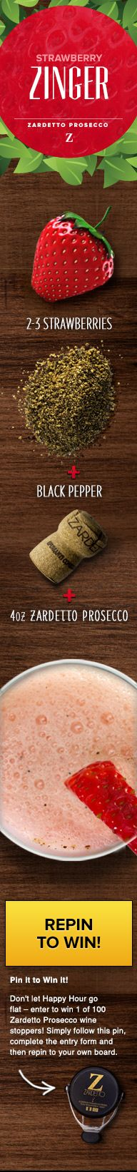 Don't let Happy Hour go flat - enter to win 1 of 100 Zardetto Prosecco wine stoppers! Simply follow this pin, complete the entry form and then re-pin to your own board. form and then re-pin to your own board.