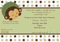 Custom Invitation for Baby Shower or Birthday Party, Mod Monkey Theme. $15.00, via Etsy. invitations, babi 1st, monkey theme, birthday parties, birthdays, 1st birthday, custom invit, babi shower, baby showers