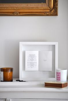 Open a book to your favorite passage and stick in a shadow box frame.