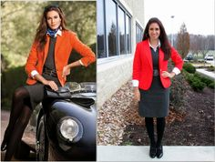 Orange (reddish) Blazer & Gray