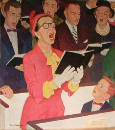 """""""Singing Praise"""", Saturday Evening Post cover, March 7 1959, by Dick Sargent (American, 1911-1978)"""
