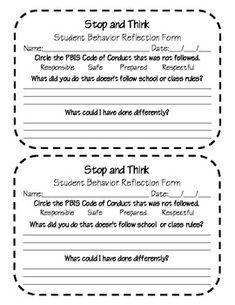 PBIS student behavior reflection form