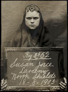 Susan Joice  arrested for larceny - at North Shields Police Station on 18th August 1903. She still has rollers in her hair.