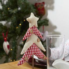 Scandinavian fabric christmas tree with buttons