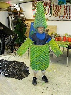 Cactus Costumes for Halloween? How about a recycled materials cactus costume from Marin?