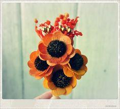 Burnt Orange Wooden Sunflowers Boutonniere