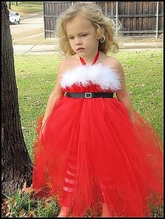 Christmas Girls Tutu Gown, Mrs. Claus, Red and White, Little Dixie Chicks