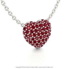 """Ruby Pendant with White Gold - """"Love Poem"""""""