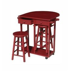 Yu Shan Drop Leaf Breakfast Cart with 2 Stools, Natural and Red 185.62 amazon.com. RED FOR THE PHILLIES!!!!