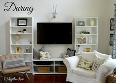 living room ideas shelves faux built in, diy, how to, living room ideas, painted furniture, woodworking projects