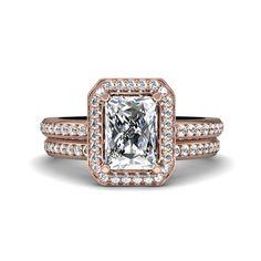 Radiant Moissanite Engagement Ring Diamond Halo Wedding Set Wedding Band Forever Brilliant Moissanite 14K White Yellow or Rose Gold $2,345
