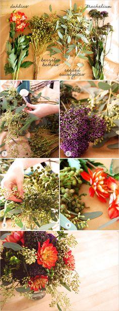 DIY Flower Arrangement http://www.weddingchicks.com/2012/03/23/easy-floral-arrangement/