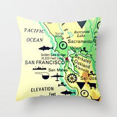 Map Pillow SAN FRANCISCO   Beach House  Decor