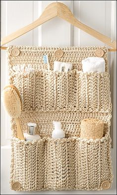 DIY Crochet Bathroom Door Organizer - instructions in the August 2013 issue of Crochet World, or, you can download it here for a small sum http://www.anniescatalog.com/detail.html?code=AM01213_medium=affiliate_source=cj=CJAAFF.