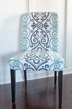 DIY chair slipcover from a tablecloth