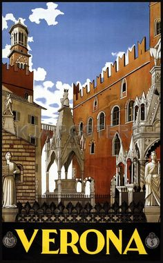 Vintage Posters - Verona Italy Travel Poster Vintage Travel Posters - Vintage Travel Posters