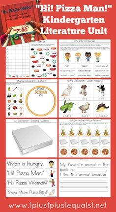 Kindergarten Literature Unit Study Printables to go along with the book, Hi! Mr. Pizza Man, by Virginia Walter -- FREE from @{1plus1plus1} Carisa #Kindergarten