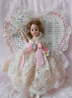 Sweet Vintage Inspired Valentine Be Mine Doll Decor Mixed Media Firgurine OOAK Altered Art Whimsical