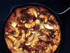 Cornbread with Caramelized Apples and Onions Recipe  | Epicurious.com onions, side dishes, caramel appl, food, onion recipes, bon appétit, thanksgiving recipes, apples, thanksgiving sides