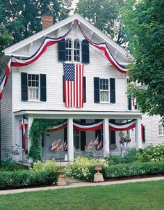 holiday, flag, dream, red white blue, blue houses, 4th of july, porch, house decorations, patriotic decorations