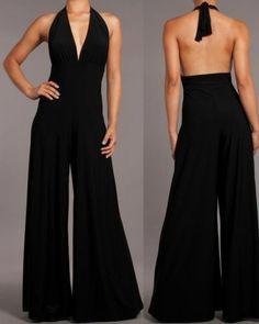 Women Jumpsuit Black Halter Open Back Wide Leg Pants Long Sexy Sleeveless s M L | eBay