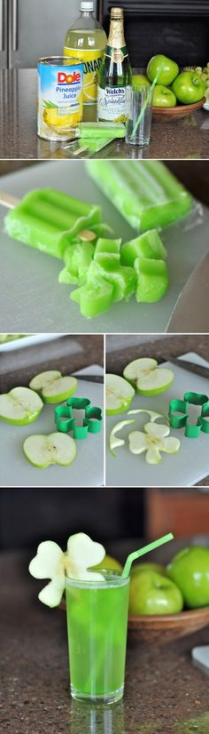 Shamrock Juice ~ easy and fun for Saint Patrick's Day saint patricks day, juice recipes, drink, apple slices, st patricks day, apples, shamrock juic, grape juice, stpatrick