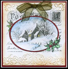night time stamping:  Stampendous snowy postcard