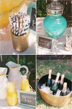 Mimosas and punch bar ideas. Captured By: Stephanie Hunter Photography --- http://www.weddingchicks.com/2014/06/11/a-couple-shower-bursting-with-wc-free-printables/