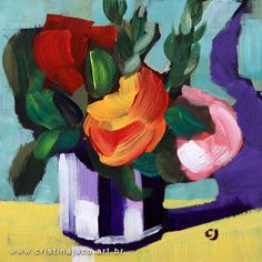 """Affordable and gorgeous. Buy REAL art!! Floral painting 6x6"""" small original acrylic on panel red orange green impressionist still life fine art by Cristina Jacó @cristinajaco"""