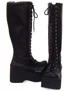 toe pu, round toe, high heel, lolita boot