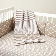 Baby Crib Bedding: Baby Khaki Floral Print Crib Bedding
