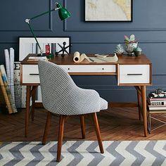 Mid-Century Desk - Acorn + White,  C$680 #westelm westelm, wall colors, midcenturi desk, desks, mid century furniture, home offices, desk chairs, west elm, workspac