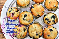 Whole-Wheat Blueberry Banana Muffins {vegan} Great for a quick & healthy breakfast! Click the link below for the recipe! http://weeklybite.com/whole-wheat-blueberry-banana-muffins-vegan/