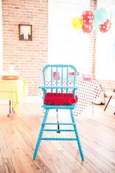 aqua and fuchsia high chair, cake smash high chair, first birthday high chair