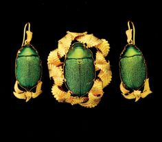 VICTORIAN SCARAB BEETLE PARURE, To be offered on June 7 at Michaan's Auctions #victorian #jewelry #scarab #michaans http://www.michaans.com/events/2013/auct_06072013.php