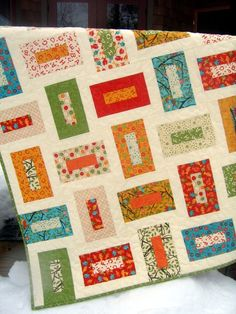 similar to the pattern in Cozy Modern Quilts, but cleaner looking. Will be making a version for Jacob's graduation quilt.