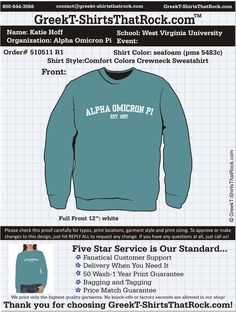 Alpha Omicron Pi Sweatshirt  http://www.greekt-shirtsthatrock.com/