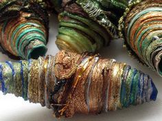 10 mixed media textile art fiber beads hand made with Tyvek - DARK AUTUMN a mix of shimmering greens copper brown teal gold