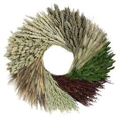 """Bring a country-chic touch to your front door or master suite wall with this preserved grain and grass wreath, showcasing a patterned design for visual appeal.  Product: Preserved wreathConstruction Material: Preserved grain, grass and twigsColor: Wheat, green and maroon Features: HandmadeDimensions: 22"""" Diameter x 6.5"""" DCleaning and Care: Avoid sunlight, moisture, heat and humidity. Wipe clean with a dry cloth"""