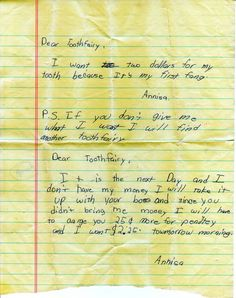 hilarious tooth fairy letter...kids are funny.
