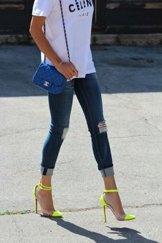 Put a little bright in your step via http://www.thecoveteur.com/ #inmyjeans #netaporter #denim jean, fashion shoes, chanel bags, colors, heel, street styles, neon shoes outfit, blues, neon yellow